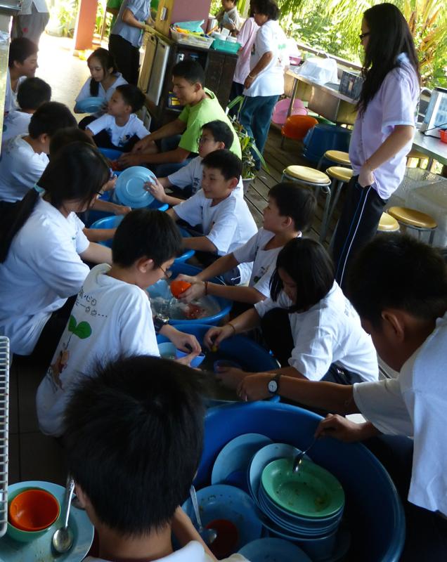 20140302兒童們午餐後,也學習分工合作學習服務。組別分派有打掃廁所、掃地、清洗碗碟等。